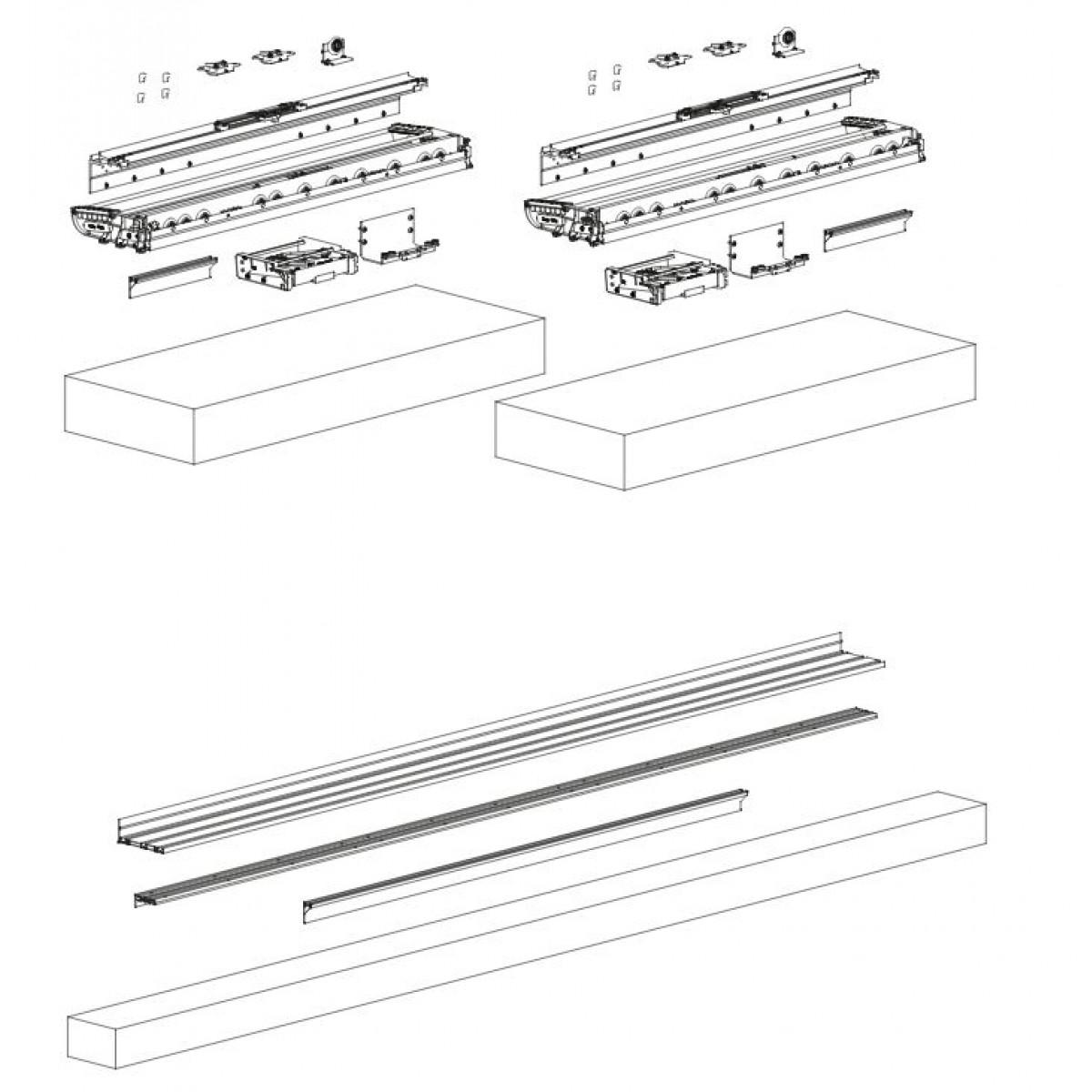 Meccanismo Ante Scorrevoli Complanari.Sistema Complanare Unico Per 2 Ante Scorrevoli Art 1200 1500 Ternoscorrevoli