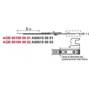 Corpo forbice Artech ( ferramenta per porte interne)    mm 476 / 604     Agb