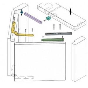 Kit per porte a fisarmonica da mt. 1, altezza m. 2,10  versione lato sx     Koblenz