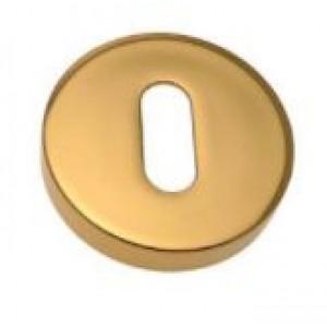 Bocchetta tonda ottone lucido con sottorosetta in nylon  diam ø 47 mm  per chiave yale  Olivari