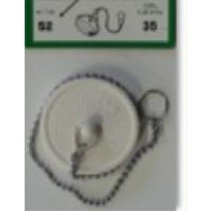 Tappo da ø 27 mm Pvc  con catena a perlina da cm 25. Pezzi 1.   Silence