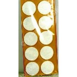 Feltrini tondi,adesivi in feltro sintetico di colore bianco , misure mm. ø 20 spessore 3 mm. cf. da pz 12 .   Silence