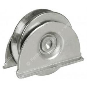 Ruota con piastra in acciaio zincato con supporto laterale- 1 cuscinetto - Gola V da 80      IBFM