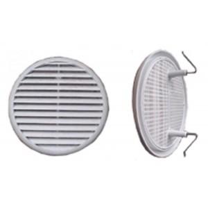Griglia bianca tonda per areazione con rete antinsetti in plastica diam. 120 mm     Edilplast