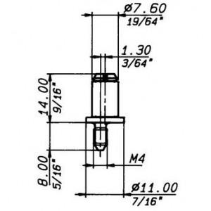Perno eccentrico zincato a rullo in resina per serrature ad aste rotanti   Art. 858 F  Meroni