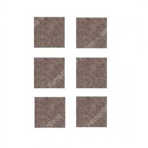 Feltrini quadri,adesivi in feltro sintetico di colore marrone , misure mm. 30 x 30 spessore 3 mm. cf. da pz 6 .  Silence