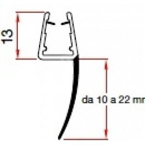 Profilo da cm 220 per cristallo box doccia ad una aletta cm 22.  Trafilo