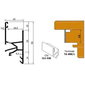 Gocciolatoio in battuta con terminale e guarnizione, in alluminio color bronzo medio , h 22 mm    ROVERPLASTIK