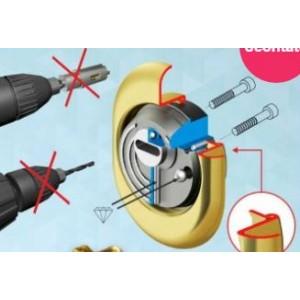 Defender per cilindro europeo ad alta resistenza allo scasso.  Acciaio/Cromo satinato  Disec