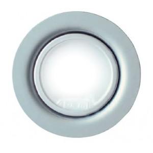 Faretto alogeno  in metallo con vetro protettivo,color oro, 10/20 w 12 volt  lampada inclusa,diam foro ø 55 mm, cavo 14 cm