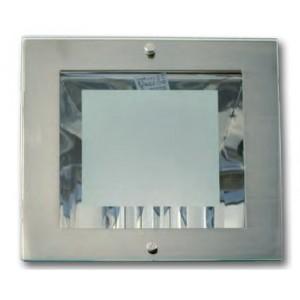 Faro fisso quadrato bianco con due portalampada E27 e vetro protettivo  215x215x105  lamp. a parte  mod. Hallsquare