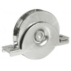 Ruota con supporto interno, in acciaio zincato - 2 cuscinetti - Gola V da 140   IBFM