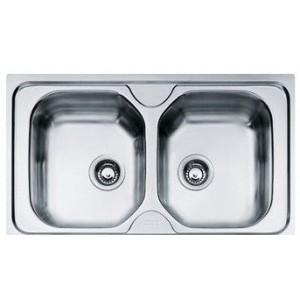 Lavello serie Onda a 2 vasche  cm 86 x 50  Inox Dekor
