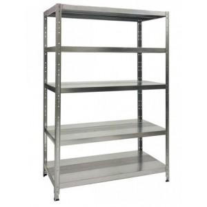 Kit Casa: scaffale a  5 piani con ripiani da cm 100 x 40  altezza metri 2, colore grigio.