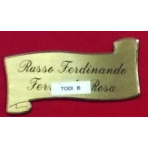 Targa sagomata Todi in ottone satinato con inclusa serigrafia mm 130 x 70